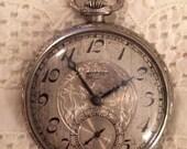 1926 Art Deco Antique Vintage Ornate Elgin Open Face Pocket Watch