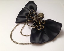 Black Octopus Hair Bow Bronze Steampunk Hanging Dangling Chains