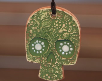 Green Sugar Skull Necklace