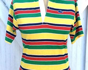 Vintage Retro Estate Izod Lacoste Polo Collared Stripe Shirt Multi Color Stripes