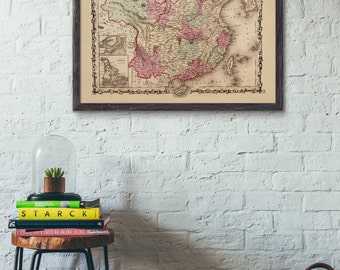 Historical 1862 China Reproduction Map Print, retouched and recolored, Home/office decor #652