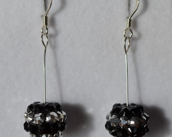 Black and silver Diamante ball drop earrings