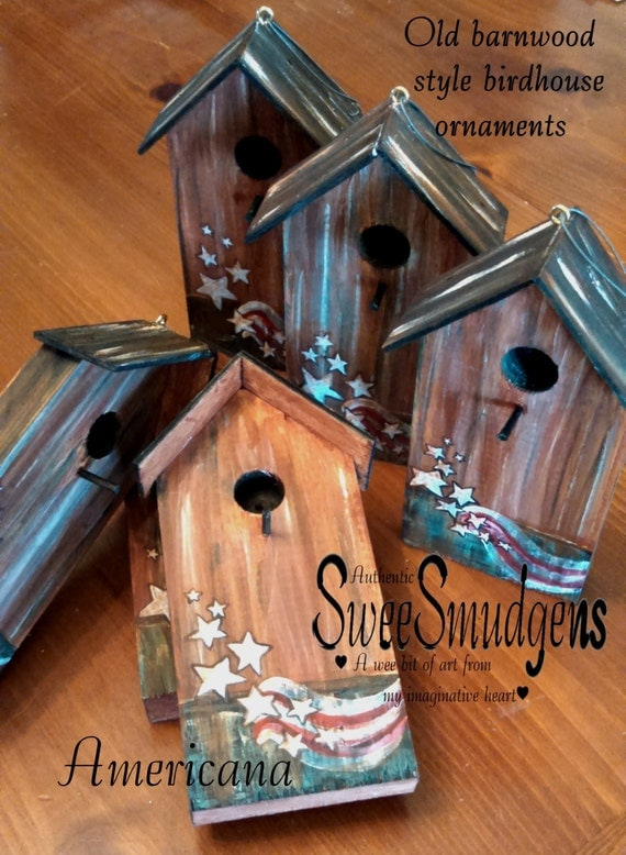 Americana birdhouse ornament key holder floral craft supply garden decor country home decor rustic brown red green stars n stripes birdhouse