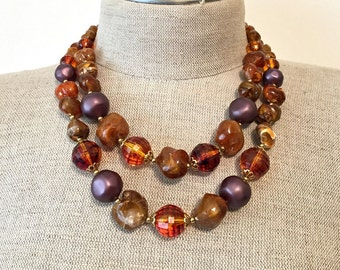 Multistrand Bead Necklace, Multi Strand Necklace, 2 Strand Necklace, Chunky Necklace, Abstract Necklace, Earth Tone Jewelry Choker Necklace