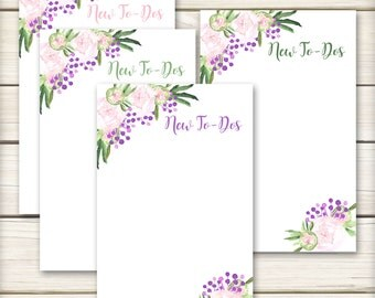 To Do List Notepads - Watercolor Peonies - To Do Lists - 50 pages