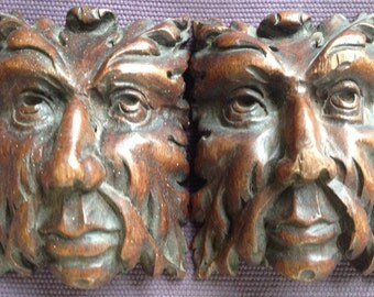 Pair of wooden ornaments