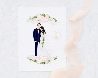 Custom Couple Illustration Valentine Anniversary Wedding Gift Idea Decoration