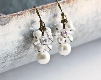 White Pearl Earrings - Bridal Cluster Earrings, Antiqued Brass Hooks, White Dangle Earring, Bridesmaid Pearl Earrings, Wedding Jewelry Sets