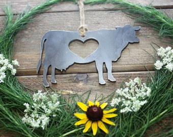 Cow Love Rustic Metal Recycled Steel Heart Christmas Tree Ornament Holiday Gift Industrial Decor Wedding Favor By BE Creations