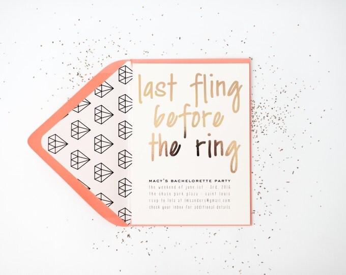 gold foil bachelorette party invitation  - customizable (sets of 10)  // lola louie paperie
