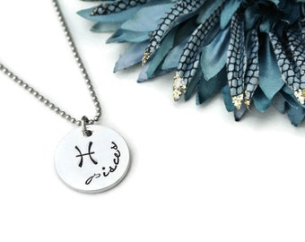 Pisces Necklace | Pisces Jewelry | Pisces Constellation Necklace | Astrology Jewelry | Zodiac Jewelry | Pisces Pendant Hand Stamped Necklace