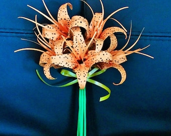 Lilies - Lily bouquet - origami lilies - tiger lily - day lily - paper lily - lilium lancifolium - birthday bouquet - anniversary bouquet