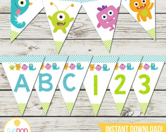 LITTLE MONSTER BIRTHDAY * Banner * Alphabet * Numbers * First Birthday * Birthday Decorations * Instant Download * Printable