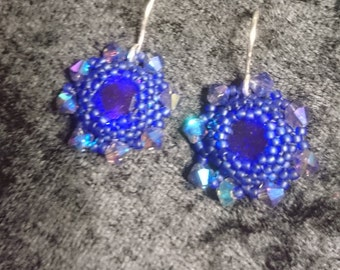Blue rivoli and seed bead earrings