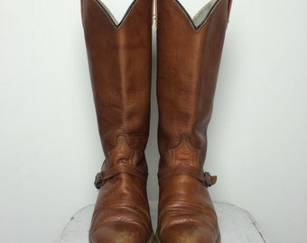 Vintage Women's Dingo Chestnut Brown Leather Cowboy Boots Size 7.5 Made in USA