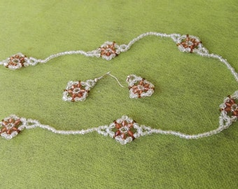 Crystal Flower white and brown beadwiving necklace no clasp matching earrings