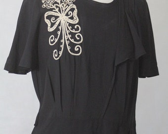 1940's Embroidered Drape Dress XL