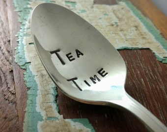 Hand Stamped Silver Plated Teaspoon, Tea Time, Tea Party Spoon, Breakfast Spoon, Dessert Spoon