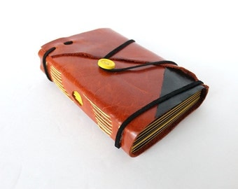 Fiery Leather Travel Journal with Black and Yellow Pages. Unique One of a Kind Notebook, Unlined Journal, Jotter, Handbound Book, Diary