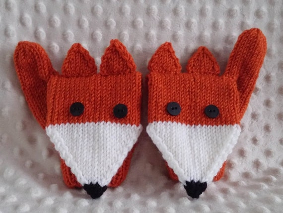 MADE TO ORDER Knit fox mittens / handmade mitts/ knitted