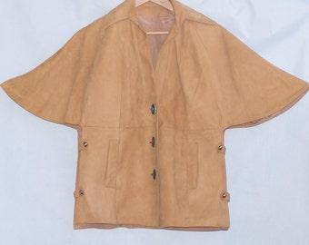 Vintage 70s Cape / Hippie Cape Jacket / Boho Suede Jacket /Leather Jacket / Suede Cape Jacket