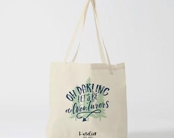 "X454Y Tote bag ""Oh darling"", sac en toile, sac coton, sac à langer, sac à main, sac fourre-tout, sac de course, sac de cours, shopping bag"