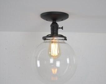 8 Inch Globe Ceiling Mounted Light Fixture, Semi Flush Mount, Matte Black Ceiling Light