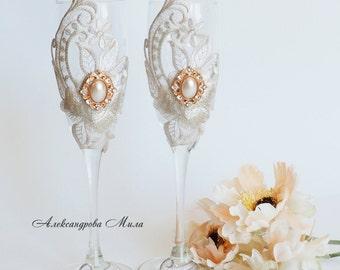 Wedding champagne glasses, glasses on beige wedding, wedding glasses