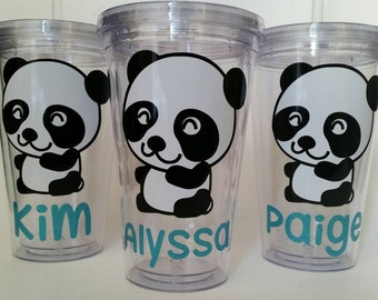 Personalized Tumbler with Straw - Panda Bear