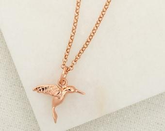 Rose Gold Hummingbird Necklace