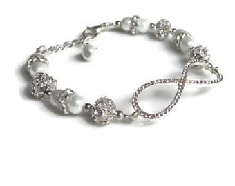 Rhinestone and pearl Infinity Bracelet, Infinity pearl bracelet, Bridal jewellery, bridesmaids gift, UK jewellery