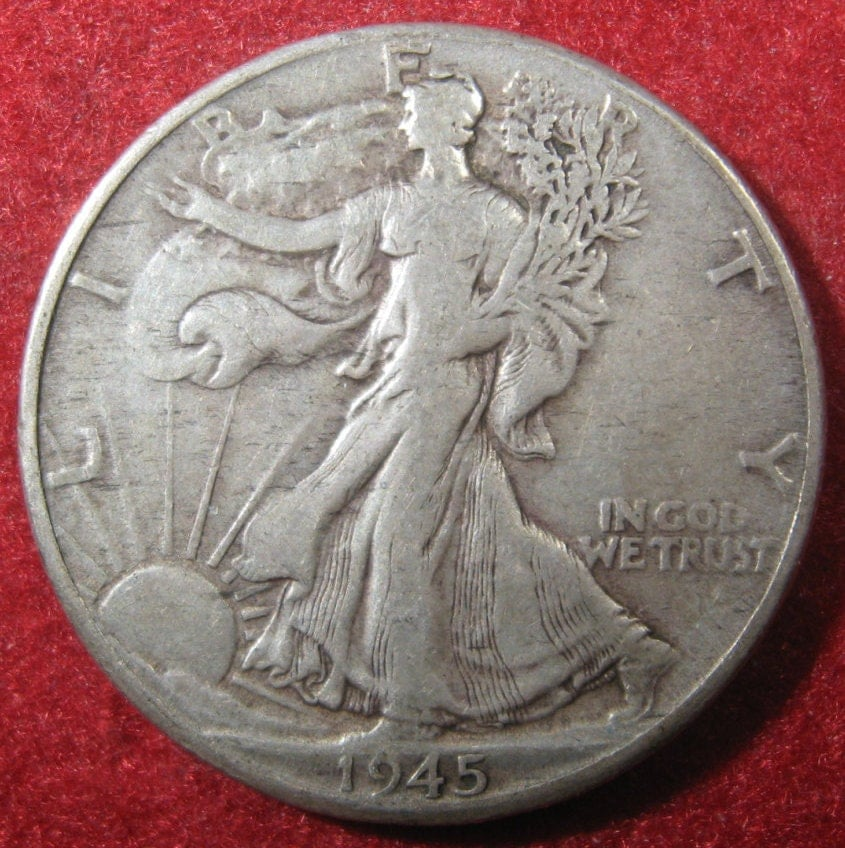 Silver Coin 1945 D USA WW II Era Walking Liberty Silver