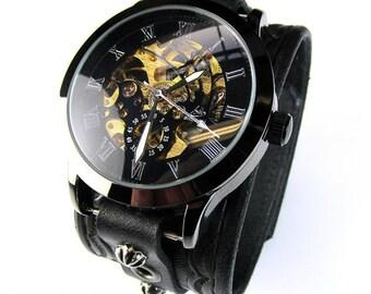 Watch Cuff, Wristwatch, Leather Cuff Watch, Men's Watch, Steampunk Watch, Black Watch, Leather Watch, Skeleton Watch, Vilon Leather