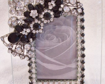 Jeweled Picture Frame. Perfect Wedding, Bridesmaid, Anniversary, Birthday, Baby Shower, Holiday Gift.