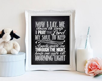 "INSTANT DOWNLOAD 8X10"" printable digital art -Now I lay me down to sleep- Prayer - Baptism gift - Religeous - Chalkboard effect- Nursery"