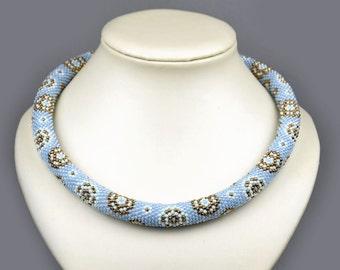Blue Modern necklace handmade Christmas Gift for Women Hippie boho jewelry Beadwork choker Beaded necklace Bead crochet rope pastel necklace