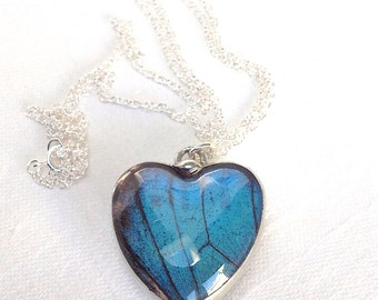Real Butterfly Wing Reversible Heart Pendant Necklace on a Sterling Silver Chain. Nature's Reliquaries Collection