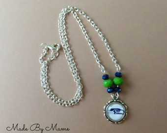 Seahawks Jewelry, Fun Team Necklace, Sports Jewelry, Seattle Seahawks, Green and Blue Pendant Necklace, Hawks Symbol Glass Pendant, Crystals