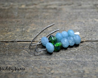 Gemstone Stack Earrings, Sterling Silver, Blue, Green, Angelite, Pressed Glass, Eco Friendly, Oxidized, Boho, Serene, Artisan, Minimalist