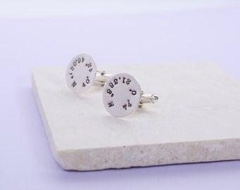 Sterling Silver Coordinate Cufflinks | Men's Handmade Silver Cufflinks | Hand-stamped Personalised Anniversary Gift | Wedding Keepsake Gift