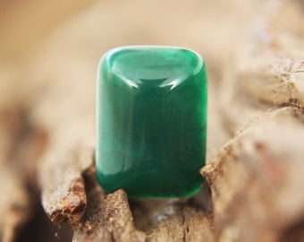 Gemstones - Green Agate Cabochon - rectangle 18mm x 13mm - oblong - emerald green / forest green