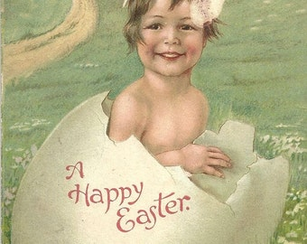 Ernest Nister Child Easter Egg Vintage Postcard PM 1913