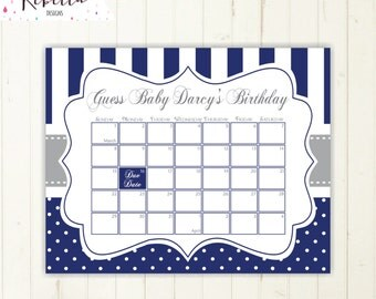 guess the date navy printable due date calendar grey baby shower birthday guess game sign baby shower game baby shower calendar 178