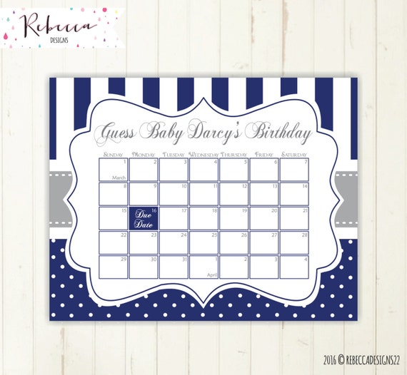 Baby Calendar Design : Guess the date navy printable due calendar grey baby