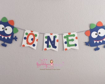 Little Monster banner Googly eyed Monster one banner, I am one you can CHOOSE YOUR COLORS, monster party, cake smash banner