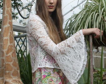 White Lace Bell Sleeve Cropped Top
