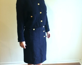 CHANEL SUIT - Authentic Vintage Haute Couture Coco CHANEL Navy Blue Wool Suit,Silk lined with chain Jacket Iconic France HandNumbered Label