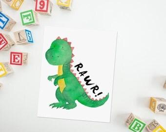 Dinosaur Wall Art, Dinosaur Nursery Theme, Baby Boy Nursery Art Print, Boys Bedroom Art, Nursery Printable, Nursery Wall Art, Rawr Art Quote