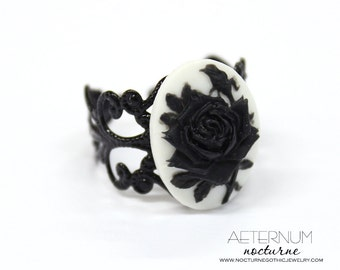 Red rose Gothic Ring - in black with cameo - Victorian Gothic Jewelry
