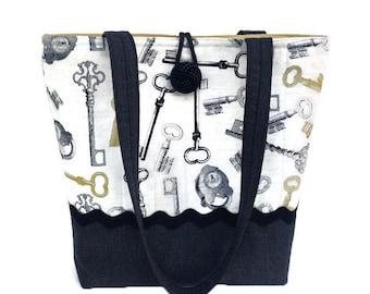 Black handbag, Fabric purse, Hand bag black, Quilted tote bag, Shoulder bag black, Printed pocketbook, Knitting project bag, Yarn tote bag